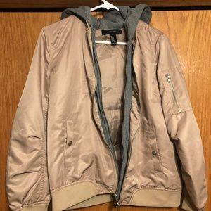 faux suede jacket with built in sweatshirt